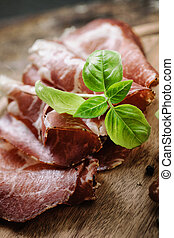 Dried pork collar salami ham with herbs