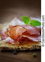 Dried pork collar salami ham with herbs