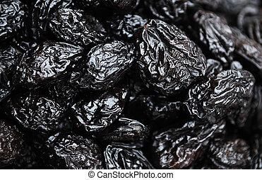 dried prune - Heap of black dried prune