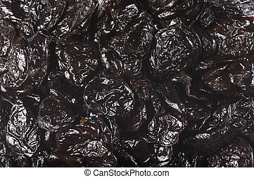 Dried prunes close-up