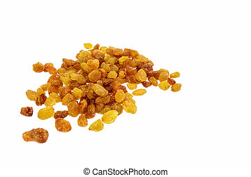 Dried raisins on white background. Tasty and healthy berry.