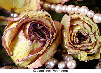 Dried roses and pearls - Dried rose flowers with pink pearl...