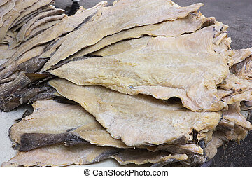salted cod - dried salted cod, fillets of fish preserved ...