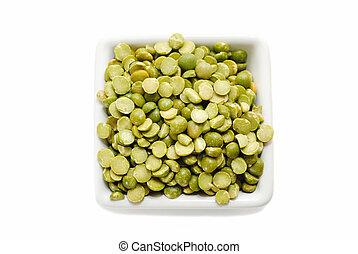 Dried Split Peas in a Square White Bowl