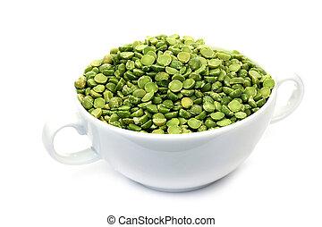 dried split peas in a white bowl