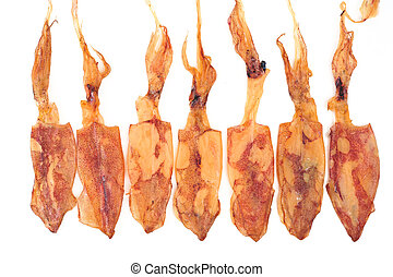 Dried Squid isolated on white