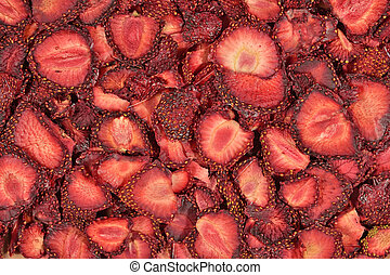 Dried strawberries as background texture