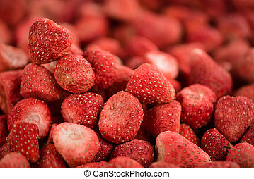 Dried Strawberries close-up shot, selective focus - Portion...