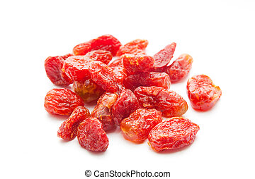 Dried strawberries isolated on white background