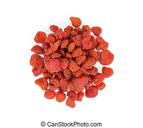 dried strawberries isolated on white background, top view