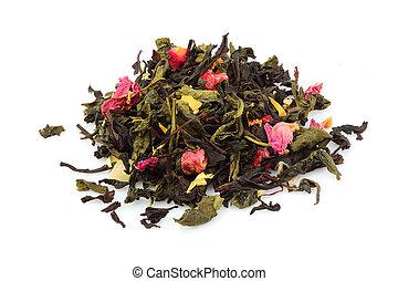 Dried tea, dried herbal, green, black tea and fruit tea.