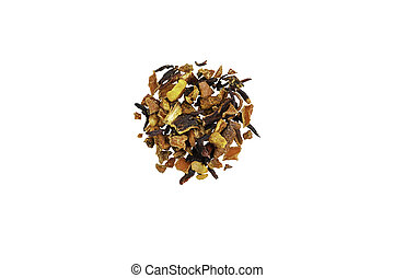 Dried tea, dried herbal, green, black tea and fruit tea on white background. Isolated.