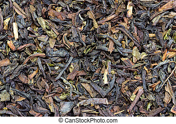Dried tea leaves, macro