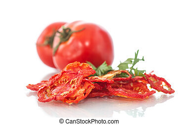 dried tomatoes - dried and fresh tomatoes on white...