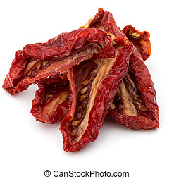 Dried tomatoes isolated on white background cutout - Dried...