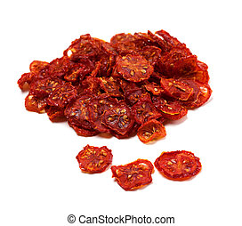 Dried tomatoes on white background. - Dried tomatoes...