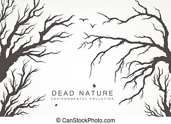 dried tree branches with birds and leaves