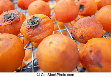 dried up persimmon under the sun