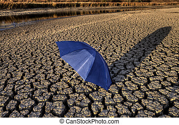 Dried up River Bed and umbrella