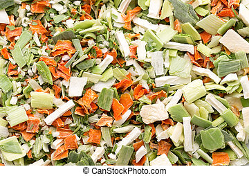Dried vegetable spice. Bio herbs product. Finely chopped ...