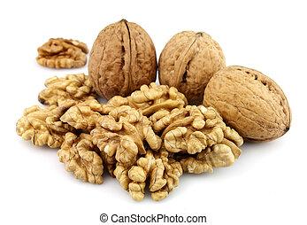 Dried walnuts closeup