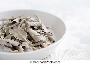 Dried white sage leaves