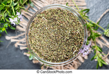 Dried Winter Savory in a bowl - Portion of dried Winter...