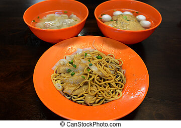 Dried wonton noodles, Char Kuey Teow is a popular noodle...