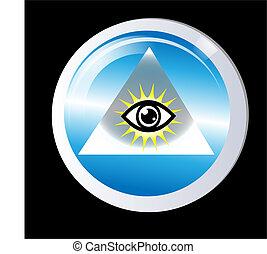 driehoek, bescherming, oog, god