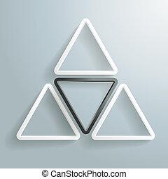 driehoek, drie, een, zwarte achtergrond, witte , piad