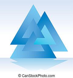 driehoek, drievoudig, 3d