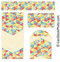 driehoek, het brandmerken, ontwerp, retro