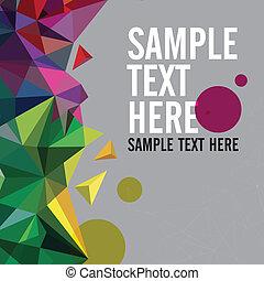 driehoek, kleurrijke, banner., model, shapes., text., hipster, retro, achtergrond, plek, geometrisch, jouw, mozaïek