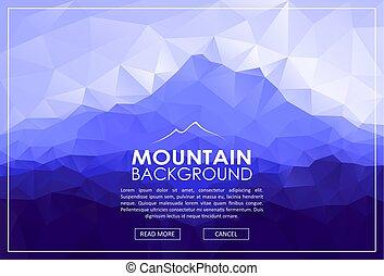 driehoek, laag, poly, landscape, met, blauwe bergen