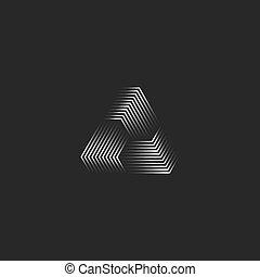 driehoek, lijnen, moderne, minimaal, piramide vorm, creatief, 3d, mager, stijl, witte , black , futuristisch, logo, oneindigheid, vorm, cyber, geometrisch