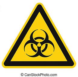 driehoek, macro, symbool, biohazard, vrijstaand, geel teken...