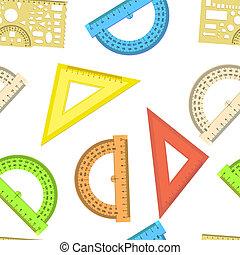 driehoek, meetlatje, behang, protractor, seamless, vector, achtergrond, lijn