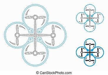 driehoek, netwerk, copter, maas, vector, quad, model, mozaïek, pictogram