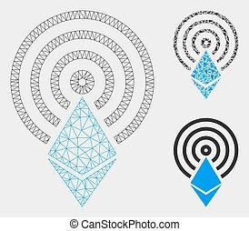 driehoek, netwerk, maas, kristal, vector, ethereum, model, airdrop, mozaïek, pictogram