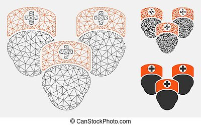 driehoek, netwerk, medisch, maas, vector, model, personeel, mozaïek, pictogram