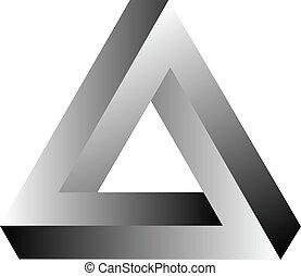 driehoek, onmogelijk, tribar, optisch