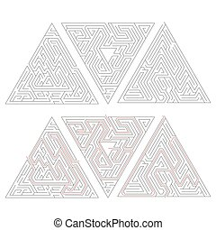 driehoek, oplossing, vrijstaand, gecompliceerd, white., steegjes, labyrinths, drie, rood