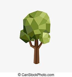 driehoek, polygonal, boompje, silhouette., vector, eco, illustration., vrijstaand, groene, hout, in, een, driehoekig, style.