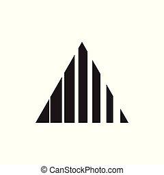 driehoek, strepen, motie, vector, logo, geometrisch