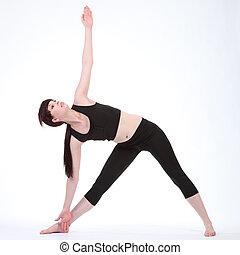 driehoek, trikonasana, pose, parivrtta, yoga, revolved
