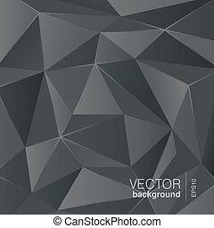 driehoek, veelhoek, abstract, grijze , donkere achtergrond, style.