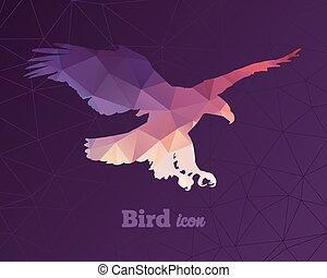 driehoeken, adelaar, dier, kleurrijke, pictogram