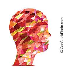 driehoeken, head., abstract, menselijk, illustratie