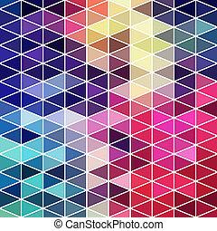 driehoeken, model, van, geometrisch, shapes., kleurrijke, mozaïek, achtergrond., geometrisch, hipster, retro, achtergrond, plek, jouw, tekst, op, de, bovenzijde, van, it., retro, driehoek, achtergrond., achtergrond