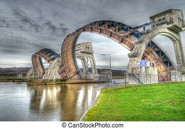 HDR image of the Driel Weir in the Netherlands. It makes part of the weir complex Amerongen, consisting of locks, a weir and a fishway in the Rhine river (Nederrijn).